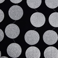Silver Glitter Round Circle Paper Garland Banner (10FT)