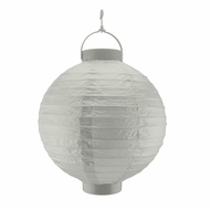 Silver LED Round Paper Battery Lantern