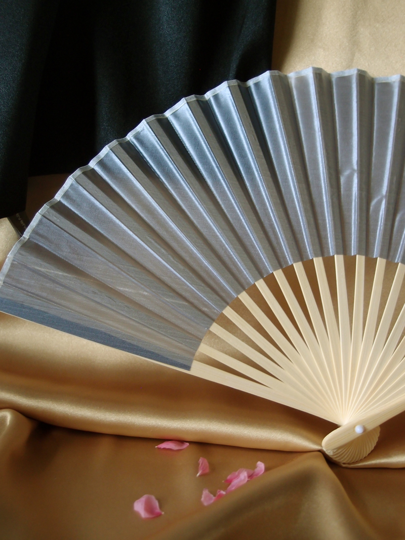 9 Quot Silver Chinese Folding Silk Hand Fan For Weddings On