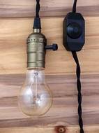 Single Copper Socket Pendant Light Lamp Cord Kit w/ Dimmer (11FT, UL Listed, Black Cloth)