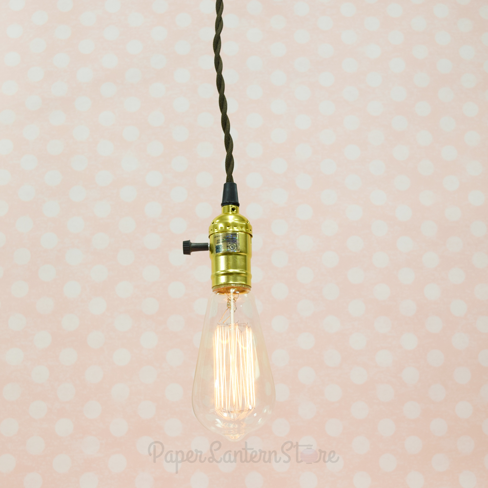 Single Gold Socket Vintage Pendant Light Cord W/ Dimmer