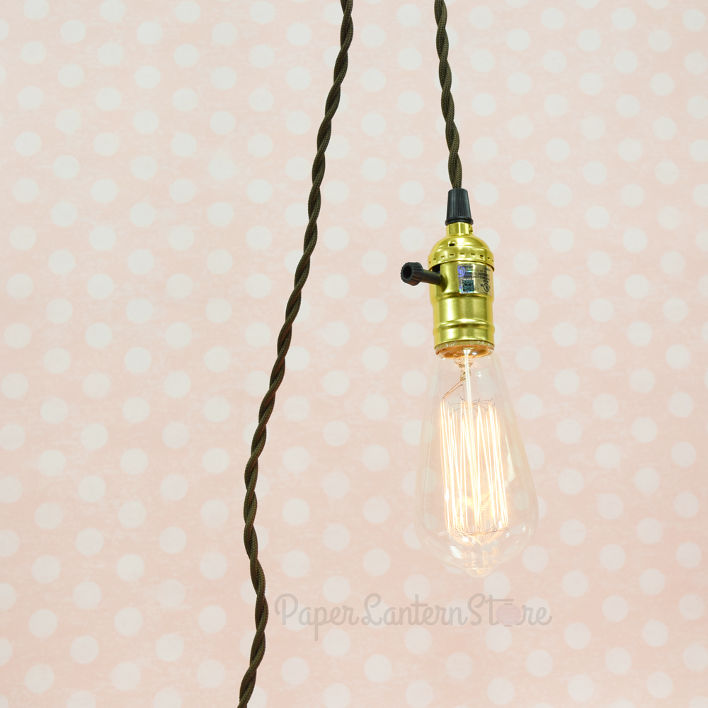 Hanging Lamp With Cord: Single Gold Socket Pendant Light Lamp Cord Kit W/ Dimmer
