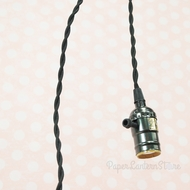 Single Pearl Black Socket Pendant Light Lamp Cord Kit w/ Dimmer (11FT, UL Listed, Black Cloth)