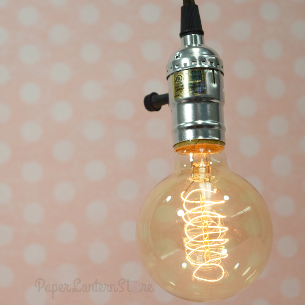 Single silver socket pendant light lamp cord kit w dimmer 11ft ul approved brown cloth on