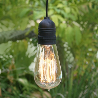 11ft Single Socket Black Commercial Grade Outdoor Pendant