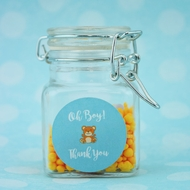 "Small 3"" Square Apothecary Craft Glass Jar Party Favor with Hinged Clamp Lids (12 PACK)"