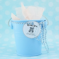 "Small 4"" Blue Metal Pail Bucket Party Favor with Handle"