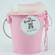 "Small 4"" Pink Metal Pail Bucket Party Favor with Handle"