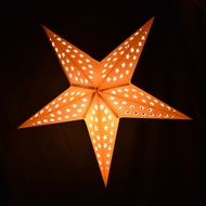 "24"" Solid White Cut-Out Paper Star Lantern, Hanging Light"