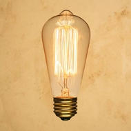 ST64 Edison Light Bulb Squirrel Cage, Vintage Antique, Incandescent Filament (E26, 40W)