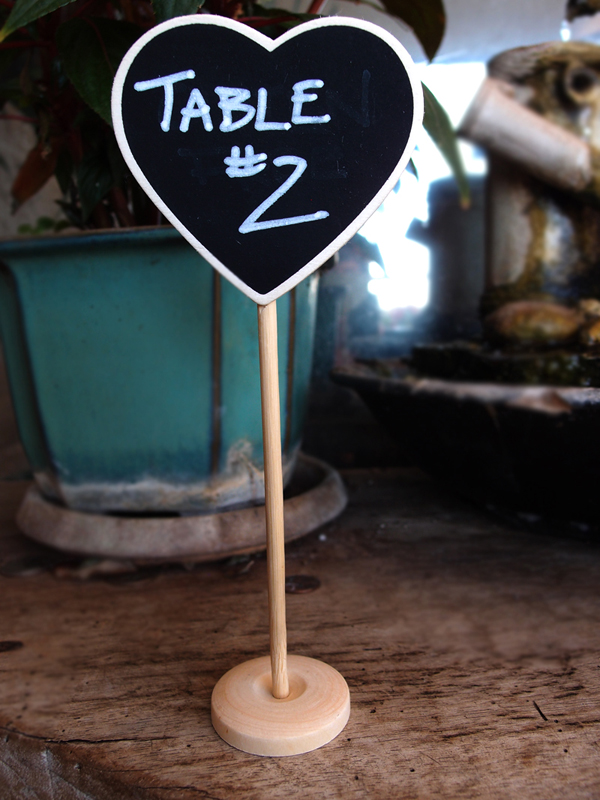 Heart Standing Wedding Chalkboard Sign Table Number Holder