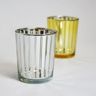 Stripe Votive Tea Light Glass Candle Holder - Silver (2.5 Inches) (6 Pack)