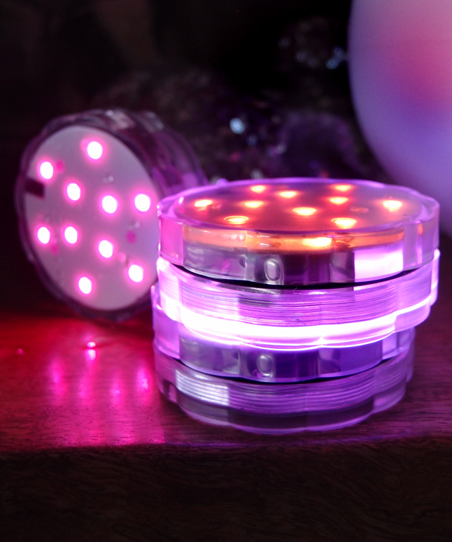 Submersible Led Waterproof Floral Flower Vase Light Base Discs W Remote Controls Rgb On Sale
