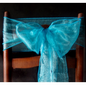 Turquiose Organza Chair Sashes Bows Table Runners 6
