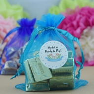 Turquoise Organza Gift Bag Pouch / Goodie Bag - 4.5 x 5.5in (12-PACK)