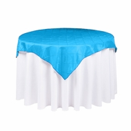 Turquoise Square Pintuck Chameleon Table Cloth Overlay Cover - 72 x 72 Inch