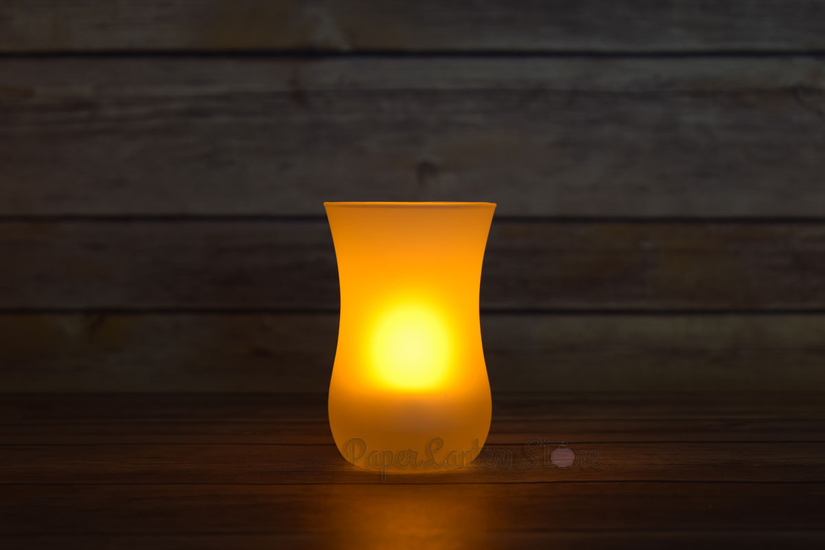 Vase Tea Light Flameless Led Candle In Frosted Glass