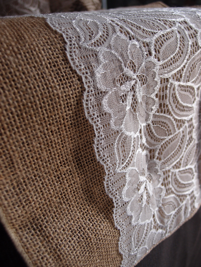 Vintage Burlap And Lace Style No 2 Wedding Table Runner