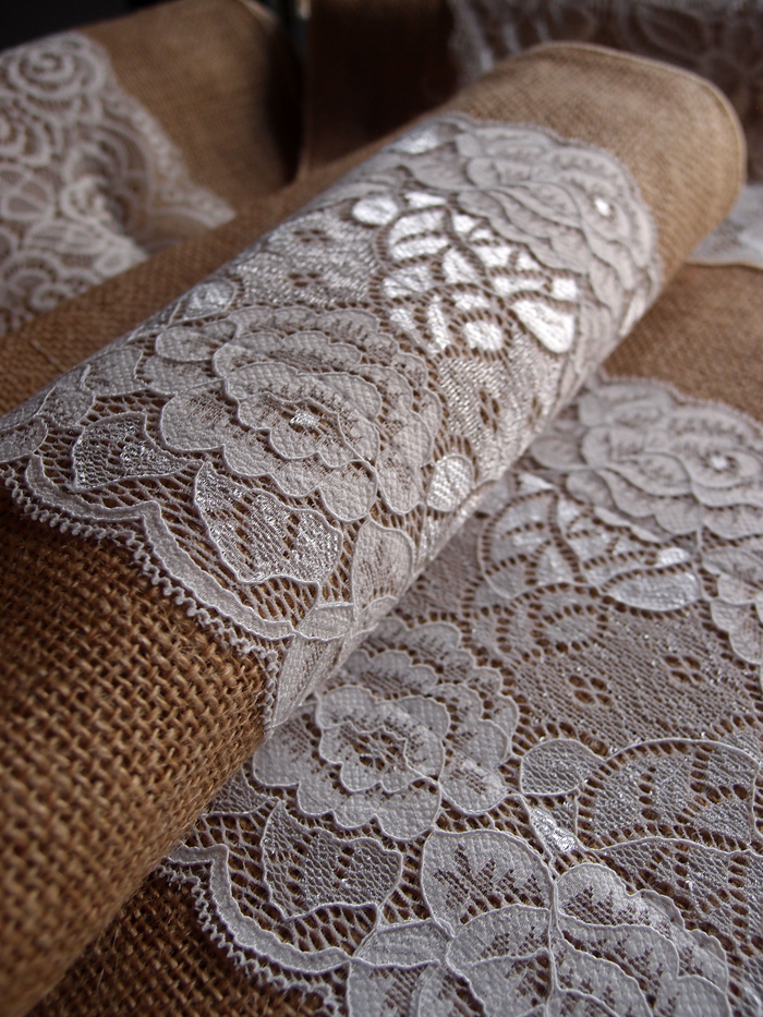 Vintage Burlap And Lace Style No 3 Wedding Table Runner