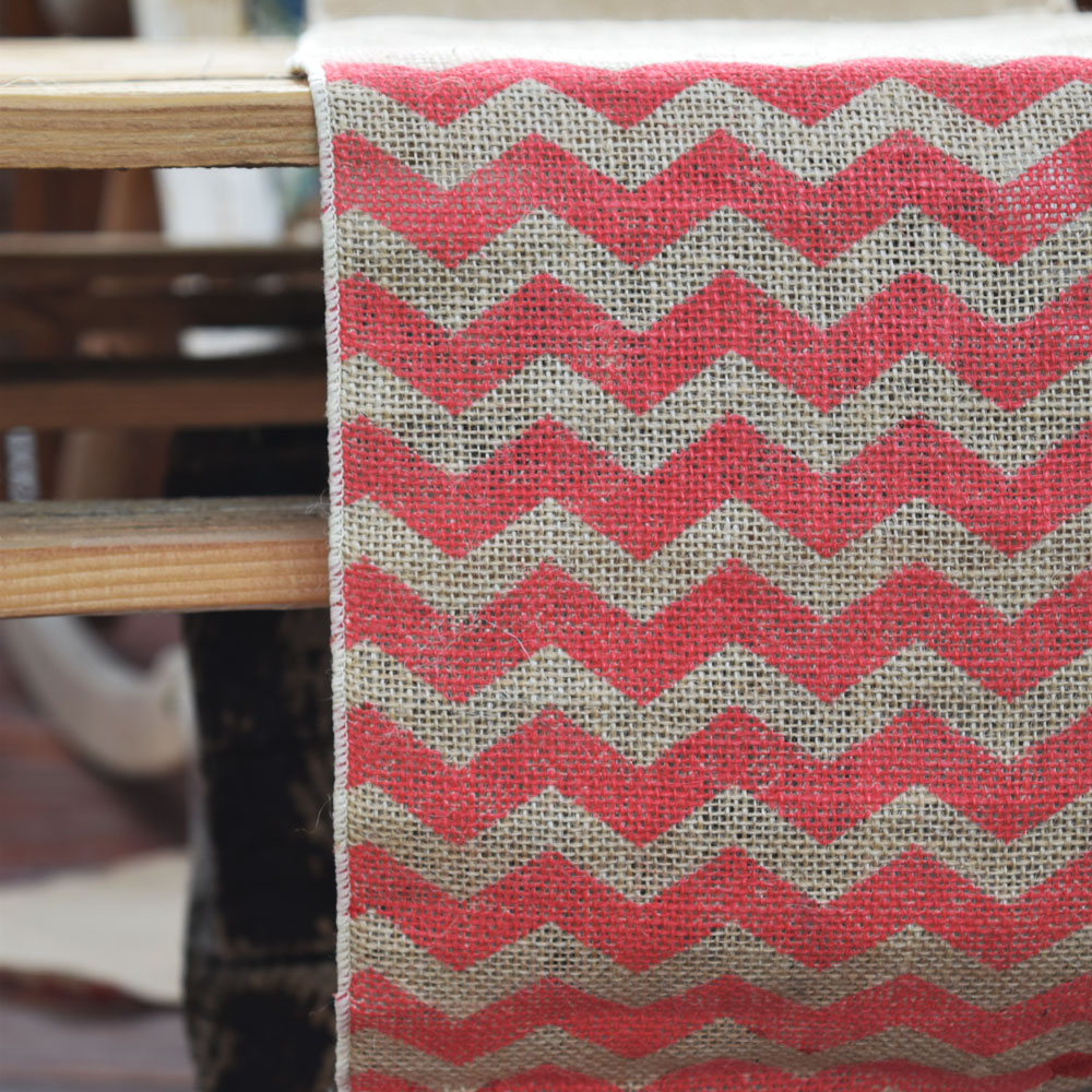 Red runner Table 108   Chevron wedding Burlap Vintage w/ Pattern x red Runner  (12 table Wedding