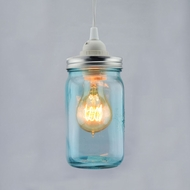 Water Blue Glass Mason Jar Pendant Light Kit, Wide Mouth, White Cord, 15FT