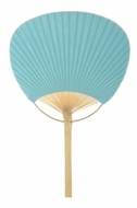 "9"" Water Blue Paddle Paper Hand Fan for Weddings"