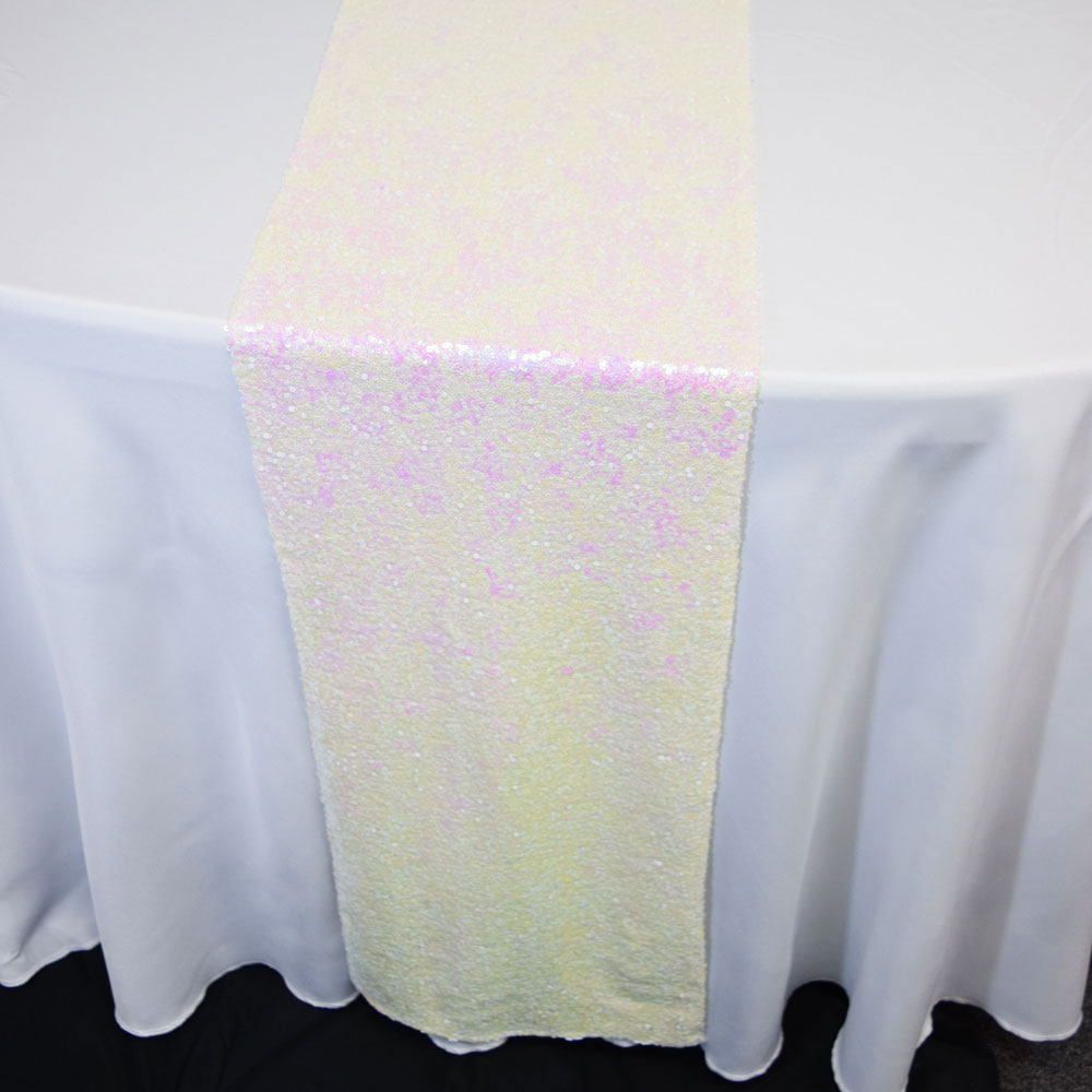 White And Pink Iridescent Sequin Table Runner 12 X 108 Inch