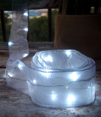 White Battery Operated Organza Ribbon Light From