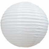 White Round Even Ribbing Paper Lanterns