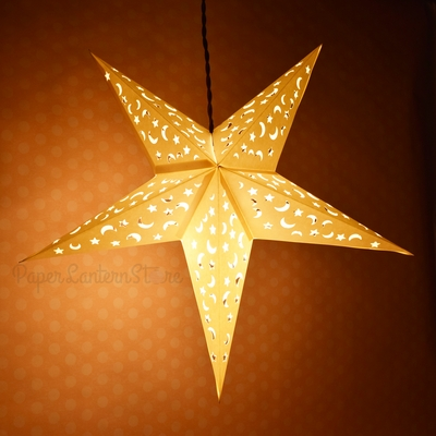 24 Quot White Paper Star Lantern With Star Moon Cut Out Design