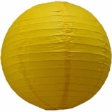 Yellow Round Even Ribbing Paper Lanterns