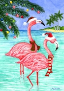 Flamingo Christmas<BR>Mini Flag