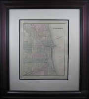 "1884 Antique Map of Chicago by Mitchell (21 x 24"" Framed)"