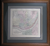"1884 Antique Map of Cincinnati by Mitchell (18 x 19"" Framed)"