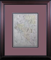 "1888 Antique Map of Nevada by McNally (16 1/2"" x 19"" Framed)"