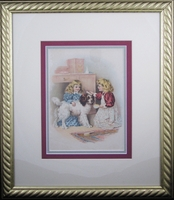 "1890 Chromolithograph Print of Girls Brushing a Dog (15 1/2 x 18 1/2"" Framed)"