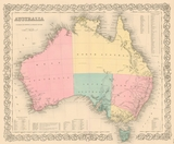 Colton 1855 Antique Map of Australia