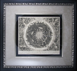 "Reproduction of a 1665 Map of the World by Athanasius Kircher (21 x 23"" Framed) - click to enlarge"