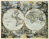 Reproduction of a 1683 Antique Map of the World in Hemispheres by Johannes de Ram<br> from $89