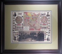 "Reproduction of an 1859 Map of the United States by Phelps & Watson (23 x 27 1/2"" Framed)"