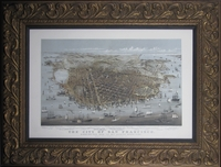 "Reproduction of an 1878 Bird's Eye View of San Francisco by Currier & Ives (15 x 20 1/4"" Framed)"