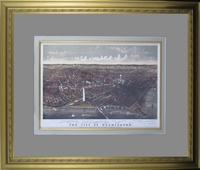 "Reproduction of an 1892 Bird's Eye View of Washington D.C. from the Potomac Looking North by Currier & Ives (17 3/4 x 21"" Framed)"