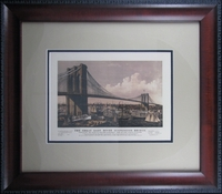 "Reproduction of an 1892 Chromolithograph of The Great East River Suspension Bridge by Currier & Ives (18 x 21"" Framed)"