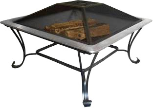 "Asia Direct AD213S-33"" Stainless Steel Square Fire Pit"