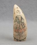 Antique Scrimshaw Sperm Whale Tooth with Girl Holding Jump Rope