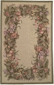 Allure Botanical Border M15 Sage  Hand Hooked Wool & Silk MER Rugs