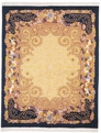Art Deco 203A Gold / Navy Hand Knotted Hand Carved 100% Wool MER Rugs