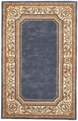 Charlemagne Coordinates Border 8614 Blue Cream Hand Tufted Hand Carved 100% Wool MER Rugs