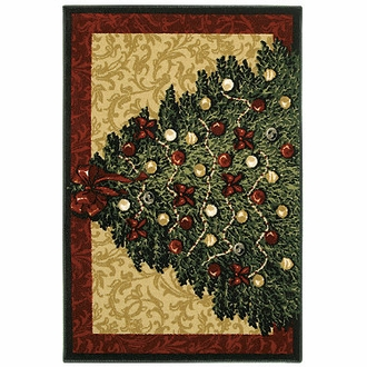 Christmas Tree Holiday Novelty Shaw Rug
