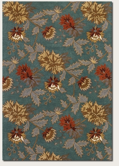 Couristan Botanique 1401-0558 Chloe Teal Area Rug